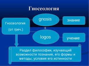 Гносеология Гносеология (от греч.) gnosis logos + знание учение Раздел филосо