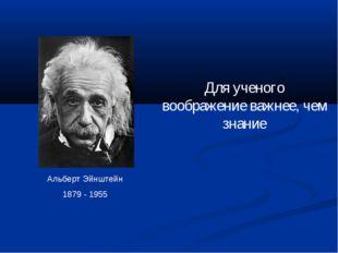 Для ученого воображение важнее, чем знание Альберт Эйнштейн 1879 - 1955