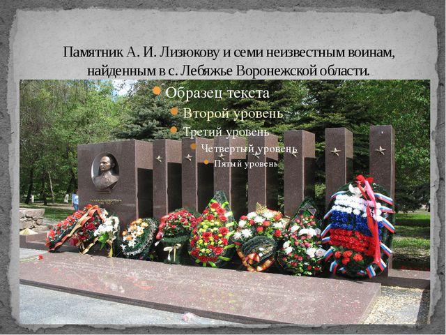 Памятник А.И.Лизюкову и семи неизвестным воинам, найденным в с. Лебяжье Вор...