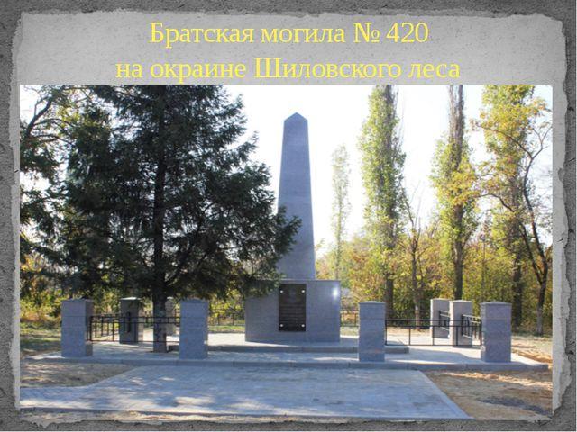 Братская могила № 420 на окраине Шиловского леса
