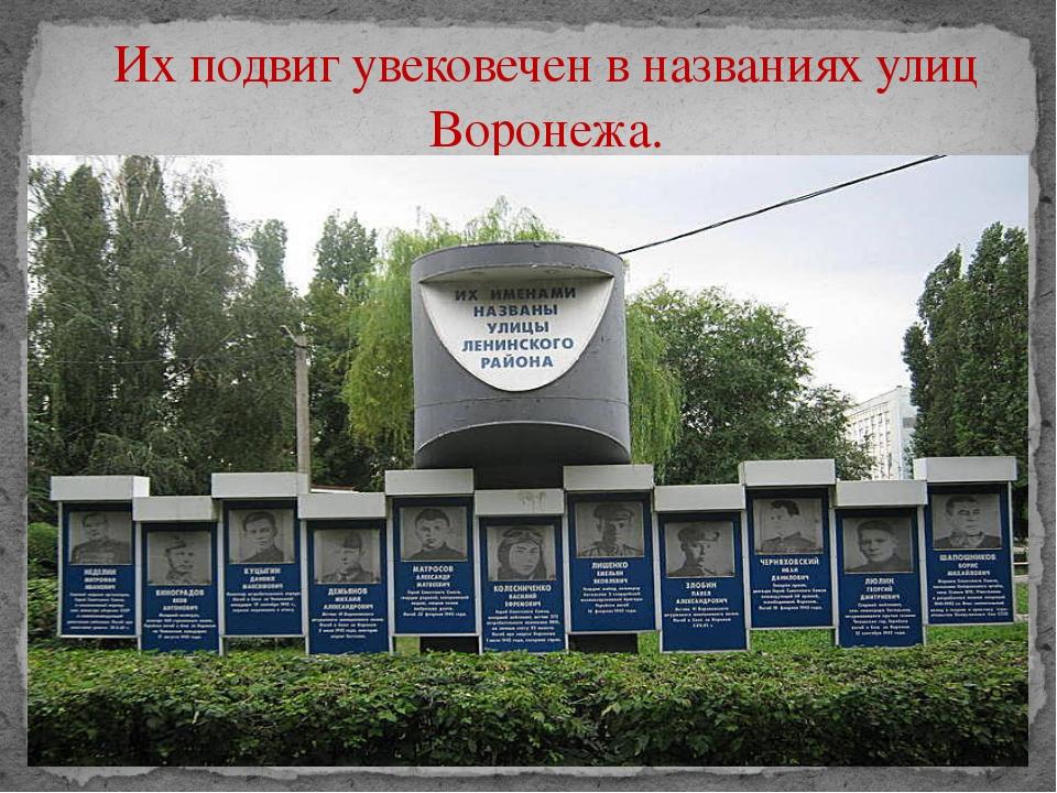 Их подвиг увековечен в названиях улиц Воронежа.