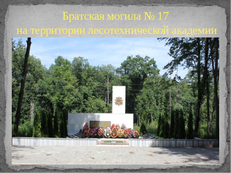Братская могила № 17 на территории лесотехнической академии