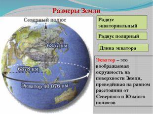 Размеры Земли Длина экватора Радиус экваториальный Радиус полярный Экватор –