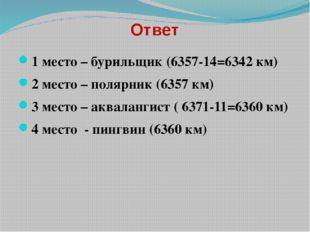 Ответ 1 место – бурильщик (6357-14=6342 км) 2 место – полярник (6357 км) 3 ме