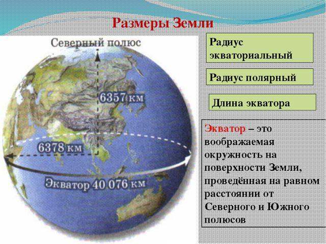 Размеры Земли Длина экватора Радиус экваториальный Радиус полярный Экватор –...