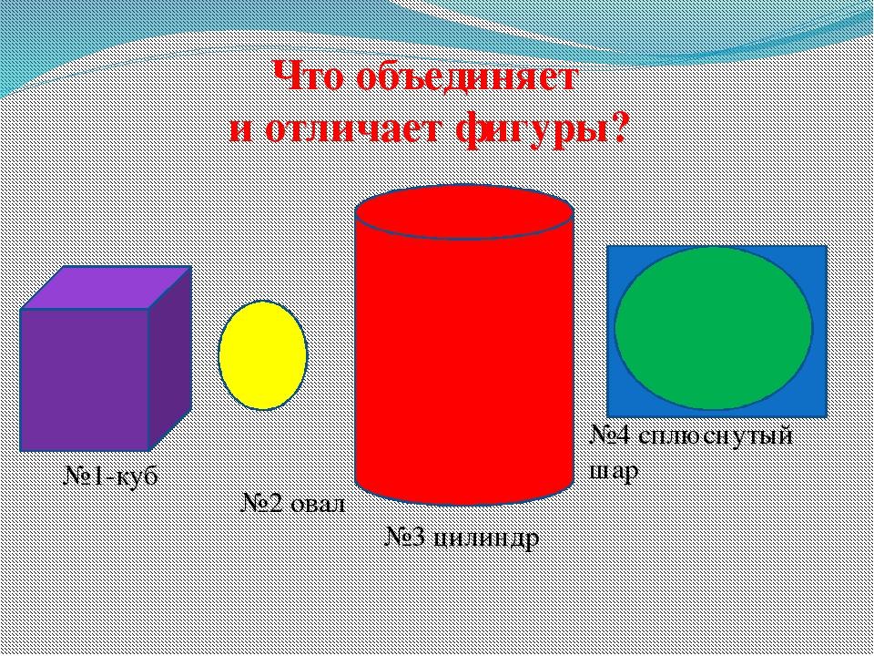 Что объединяет и отличает фигуры? №4 сплюснутый шар №1-куб №2 овал №3 цилиндр