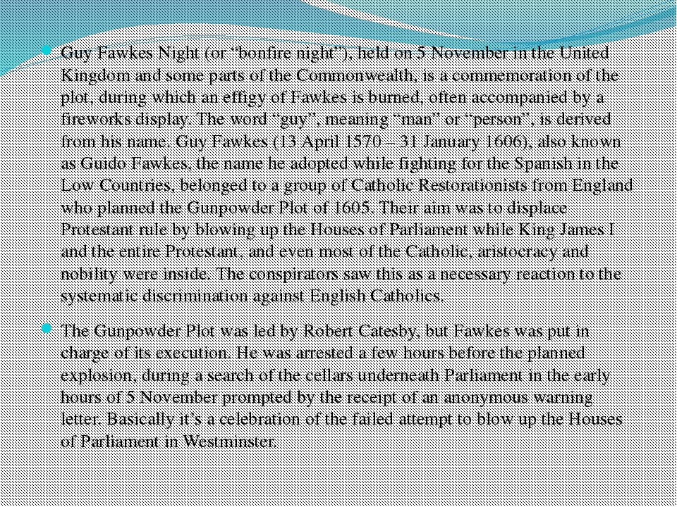 "Guy Fawkes Night (or ""bonfire night""), held on 5 November in the United King..."