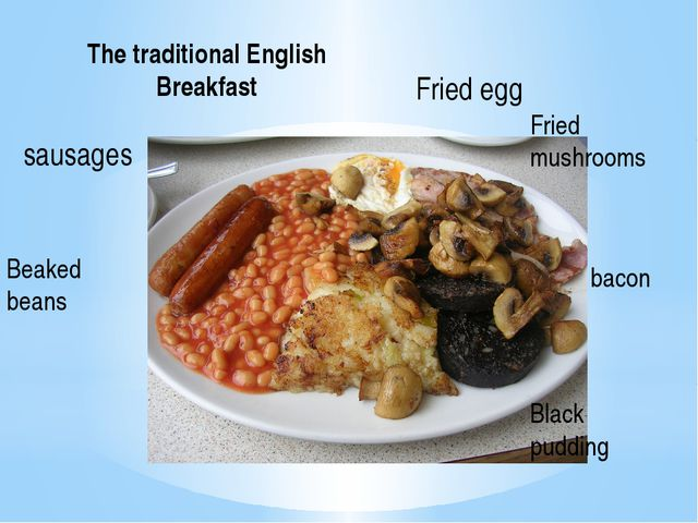 Fried egg Fried mushrooms bacon sausages Beaked beans Black pudding The tradi...