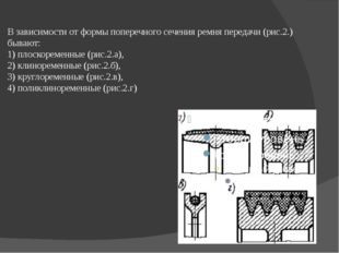 В зависимости от формы поперечного сечения ремня передачи (рис.2.) бывают: 1