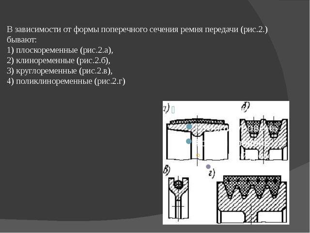 В зависимости от формы поперечного сечения ремня передачи (рис.2.) бывают: 1...