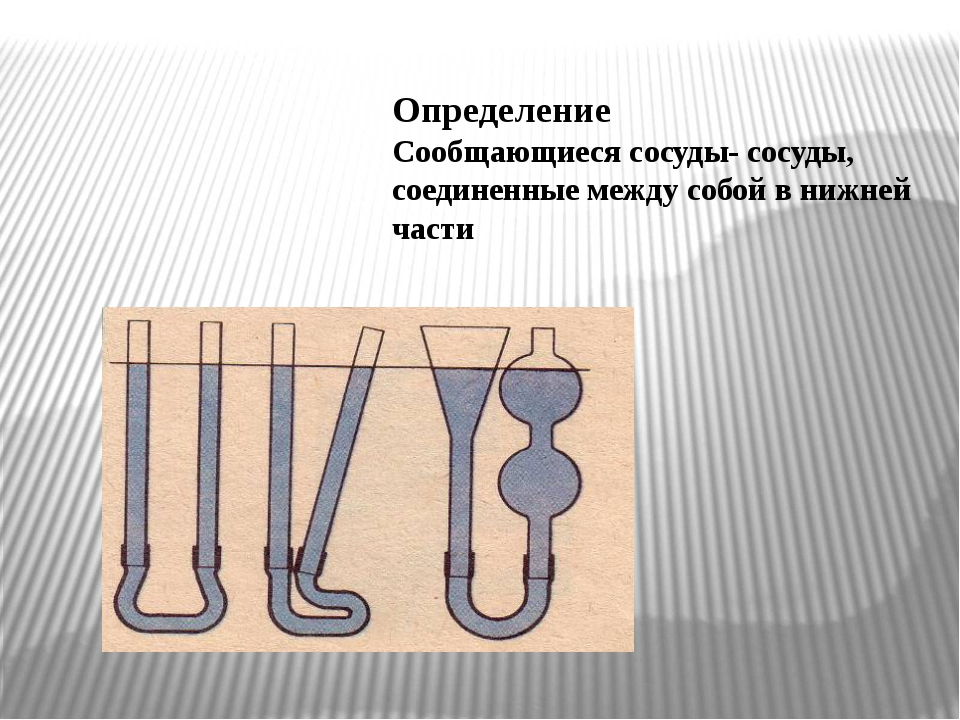 Определение Сообщающиеся сосуды- сосуды, соединенные между собой в нижней части