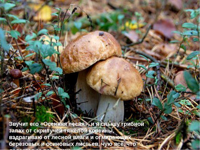 Звучит его «Осенняя песня», и я слышу грибной запах от скрипучей тяжёлой корз...