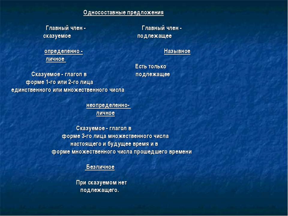 Односоставные предложения  Главный член - Главный член - сказуемое подл...