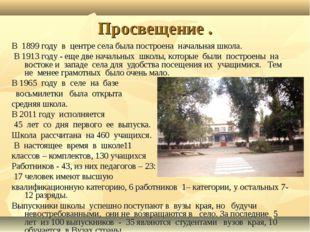 Просвещение . В 1899 году в центре села была построена начальная школа. В 191