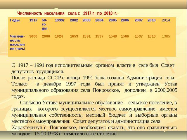 Численность населения села с 1917 г по 2010 г. С 1917 – 1991 год исполнительн...