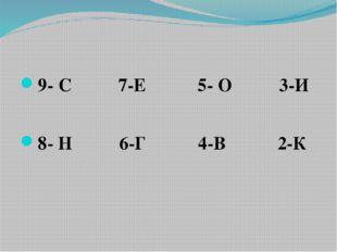 9- С 7-Е 5- О 3-И 8- Н 6-Г 4-В 2-К