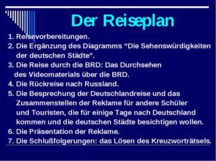 """Der Reiseplan 1. Reisevorbereitungen. 2. Die Ergänzung des Diagramms """"Die Seh"""