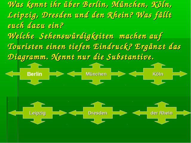 Was kennt ihr über Berlin, München, Köln, Leipzig, Dresden und den Rhein? Was...
