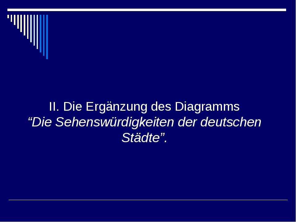 """II. Die Ergänzung des Diagramms """"Die Sehenswürdigkeiten der deutschen Städte""""."""