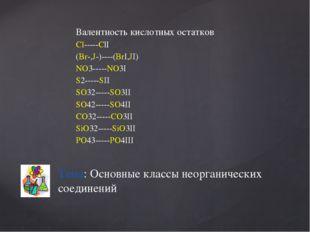 Валентность кислотных остатков Cl-----ClI (Br-,J-)----(BrI,JI) NO3-----NO3I S