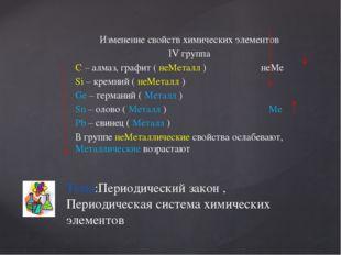 Изменение свойств химических элементов IV группа С – алмаз, графит ( неМеталл