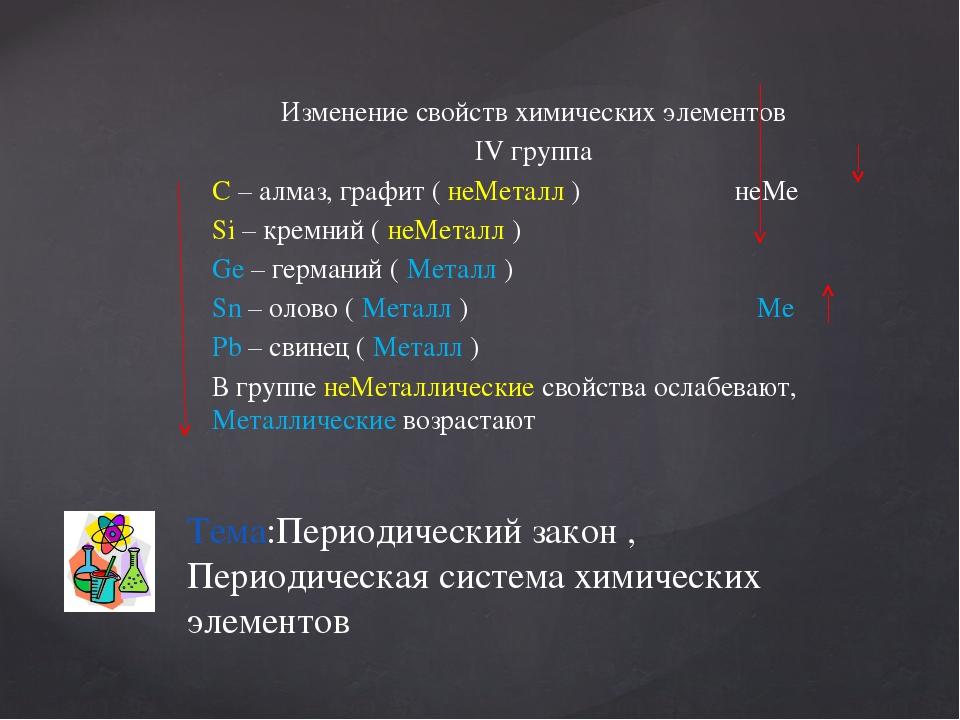 Изменение свойств химических элементов IV группа С – алмаз, графит ( неМеталл...