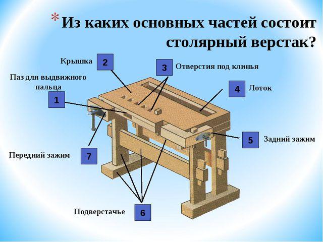 Из каких основных частей состоит столярный верстак? Подверстачье Крышка Отвер...