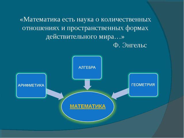 «Математика есть наука о количественных отношениях и пространственных формах...