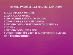 ЭТАПЫ РАБОТЫ НАД МАСТЕР-КЛАССОМ 1.ПОДГОТОВКА ОСНОВЫ 2.РАСКРАСКА ФОНА 3.РИСОВА