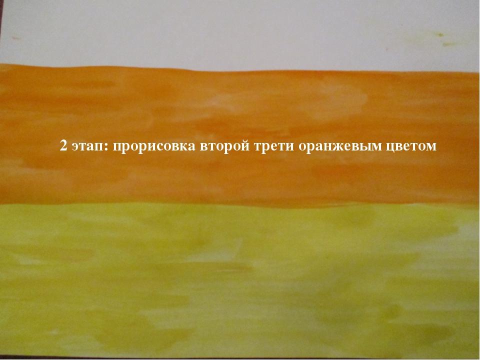 2 этап: прорисовка второй трети оранжевым цветом