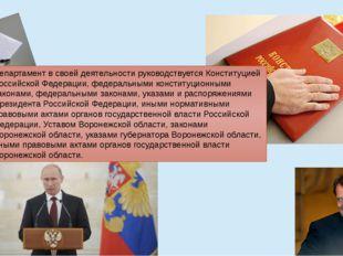 Департамент в своей деятельности руководствуется Конституцией Российской Феде