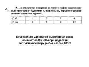 4. 5.На сколько удлинится рыболовная леска жесткостью 0,5 кH/м при поднятии в