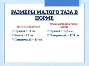 РАЗМЕРЫ МАЛОГО ТАЗА В НОРМЕ ПЛОСКОСТЬ ВХОДА Прямой = 11 см Косые = 12 см Попе