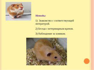 Методы: 1) Знакомство с соответствующей литературой. 2) Беседа с ветеринарны