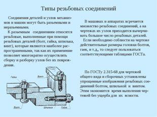 Типы резьбовых соединений Соединения деталей и узлов механиз-мов и машин могу