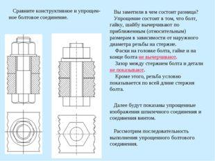 Сравните конструктивное и упрощен-ное болтовое соединение. Вы заметили в чем