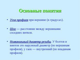 Основные понятия Угол профиля при вершине (в градусах). Шаг — расстояние межд