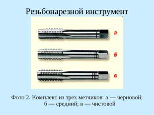 Резьбонарезной инструмент Фото 2. Комплект из трех метчиков: а — черновой; б