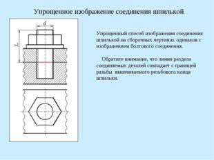 d L Упрощенное изображение соединения шпилькой Упрощенный способ изображения