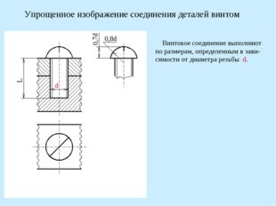 Упрощенное изображение соединения деталей винтом Винтовое соединение выполняю