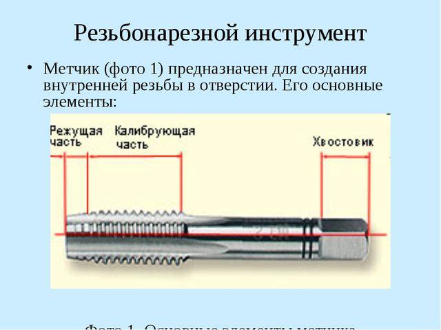 Резьбонарезной инструмент Метчик (фото 1) предназначен для создания внутренне...