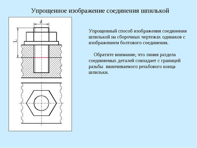 d L Упрощенное изображение соединения шпилькой Упрощенный способ изображения...