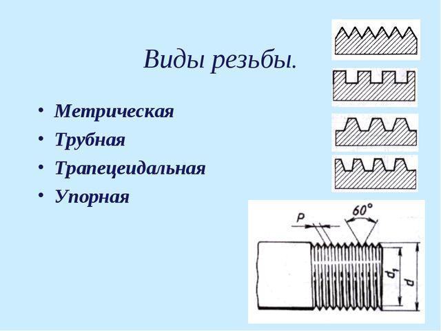 Виды резьбы. Метрическая Трубная Трапецеидальная Упорная
