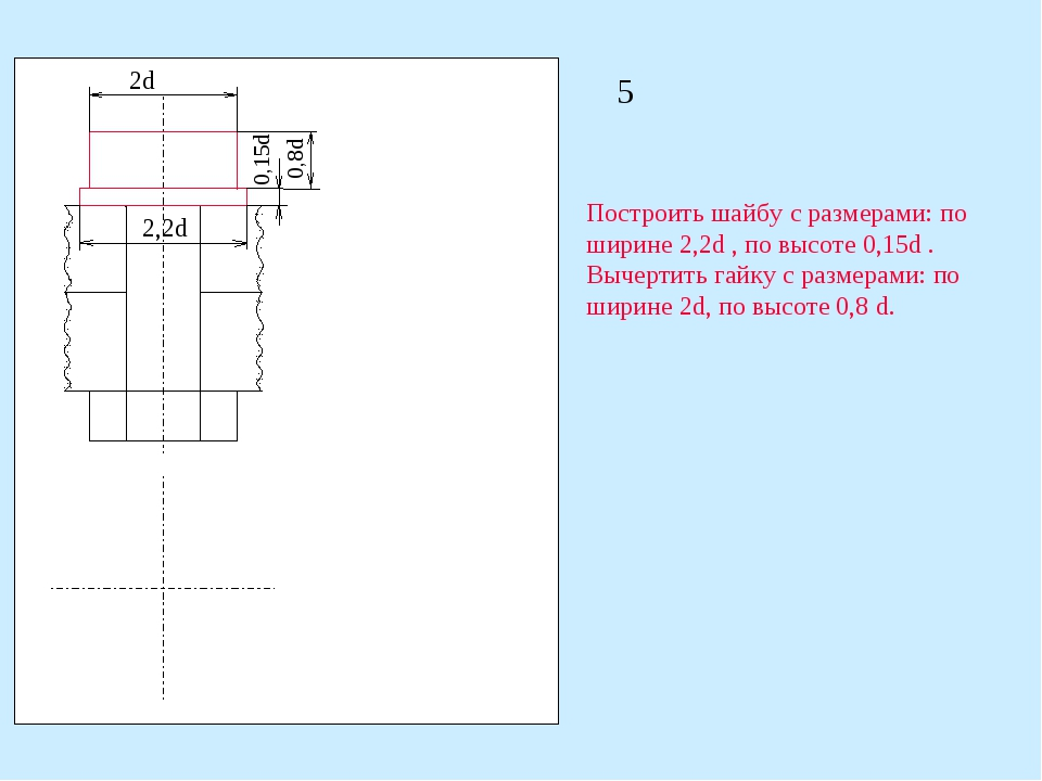 2d 2,2d 0,15d 0,8d Построить шайбу с размерами: по ширине 2,2d , по высоте 0,...