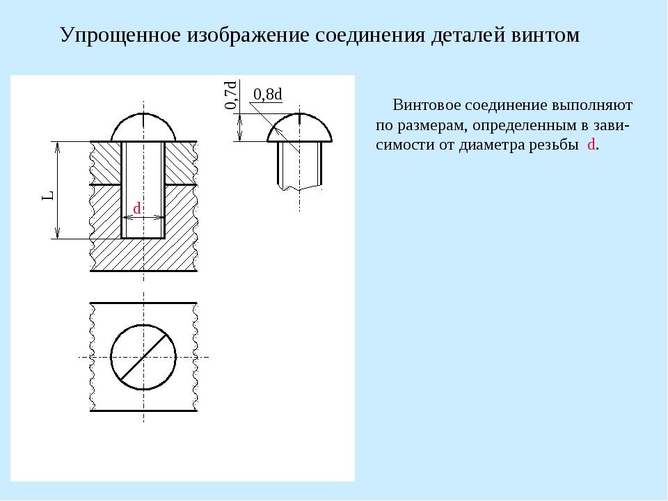 Упрощенное изображение соединения деталей винтом Винтовое соединение выполняю...