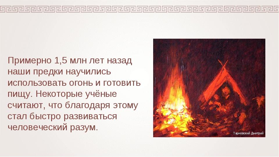 Примерно 1,5 млн лет назад наши предки научились использовать огонь и готовит...