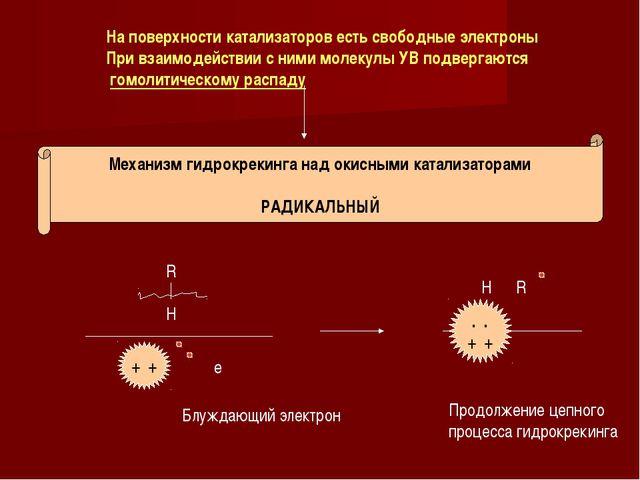 На поверхности катализаторов есть свободные электроны При взаимодействии с ни...