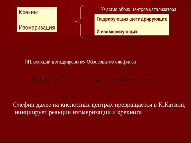Крекинг Изомеризация Участие обоих центров катализатора: Гидрирующих-дегидрир...