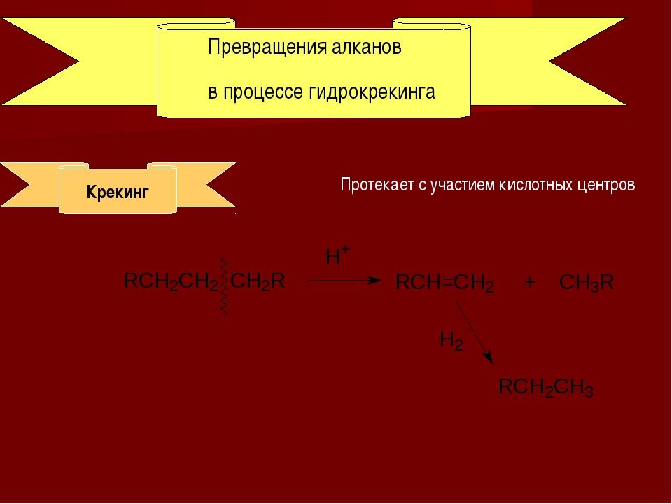 Превращения алканов в процессе гидрокрекинга Крекинг Протекает с участием кис...