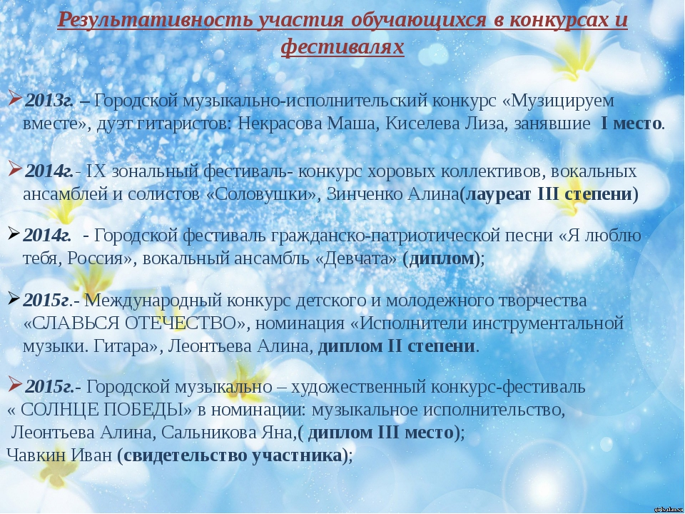 Результативность участия обучающихся в конкурсах и фестивалях 2013г. – Город...